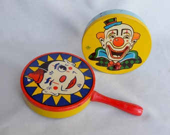 Pair of Party Noisemakers with Wooden Handles, Clowns New Year's Eve, Collectible Metal Toys, Kirchhoff Life of the Party, US Metal Toy Co