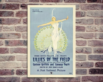 Lillies of the field. Vintage movie poster.  a movie with Corinne Griffith and Conway Tearle by John Fancis Dillon. Movie poster.