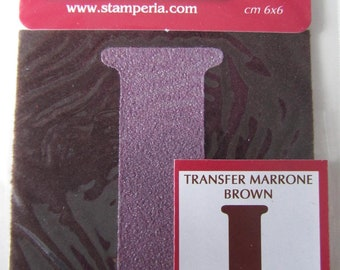 Transfer for fabric - letter I - brown color - 6 cm x 6 cm