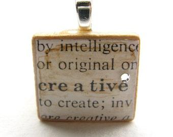 Creative - vintage dictionary Scrabble tile with Swarovski crystal