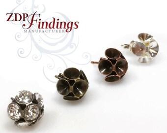 6pcs Post Earring Bases For Gluing Swarovski SS19, Choose your Finish (PO19x6V)