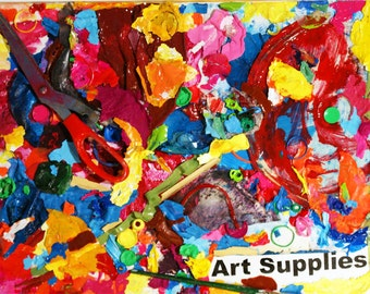 Art Supplies - upcycled / recycled mixed media assemblage