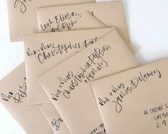 Custom calligraphy - Envelope addressing - Watercolor