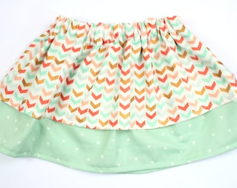 Girls Double Layer Coral, Mint and Gold Arrow Skirt, Coral and Mint Toddler Skirt
