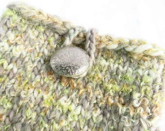 Faded Time Clutch - Handknit pouch - pale earth tones, knitted, boucle, loop closure, wool, mushroom gray, pale green, vintage button, purse
