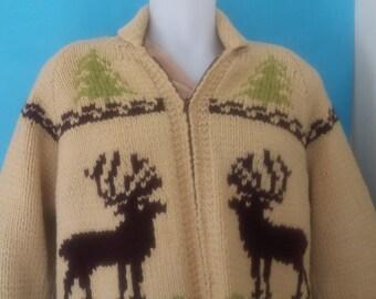 Vintage 50s Cowichan Sweater Jacket Size M Rockabilly VLV