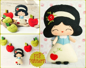 PDF. The snow white garland pattern. Fairy tale pattern. Plush Doll Pattern, Softie Pattern, Soft felt Toy Pattern.