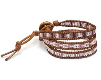 Wrap bracelet, bracciale con perline, bracciale con cristalli, triplo wrap bracelet, regalo compleanno, bracciale delicato, regalo fidanzata