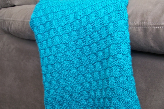 Knit Pattern Wavy Checkerboard Baby Blanket From Bunnytotemknits On