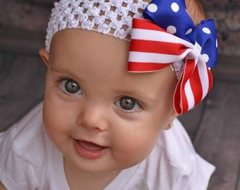 Red White and Blue Hair Bow - 4th of July Headband - 4th of July Hair Clip - Memorial Day Hair Clip - America Flag Hair Bow - New Years Bow