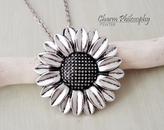 Sunflower Necklace - Large Sunflower Charm - Antique Silver Jewelry