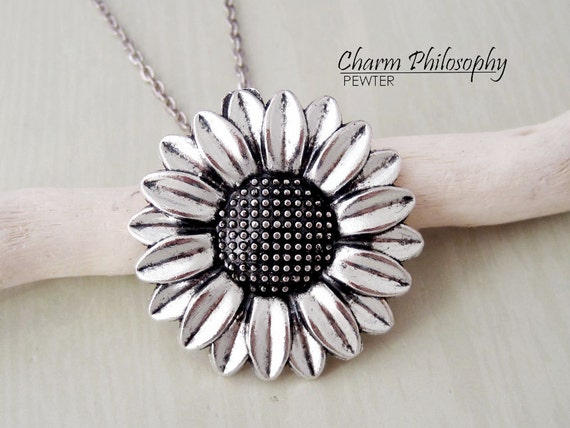 Sunflower Necklace Large Sunflower Charm Antique Silver