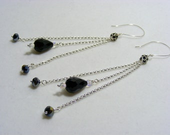 Black and Silver Long Dangling Earrings