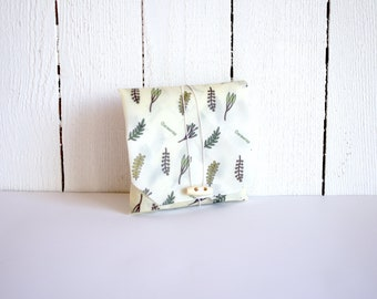 Green herbal pattern lunch pack | Beautiful sandwich wrap | Reusable snack pouch