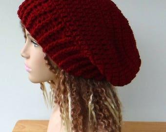 Woman Slouchy beanie, dark red slouchy hat/slouch beanie, slouchy hat, baggy hipster hat/winter hat beanie, women teen burgundy beanie hat