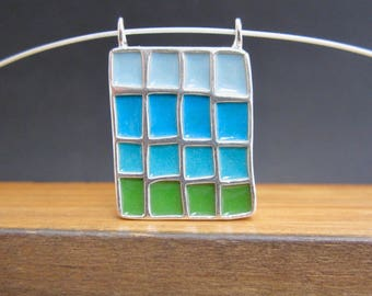 Colorblock Necklace - New Century Modern - Blue, Green, Orange, and Yellow Reversible Statement Necklace