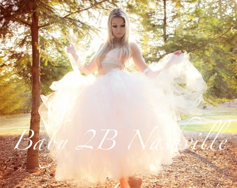Bridal Dress Skirt Wedding Separates Womens Dress Skirt Pink and Ivory Bridal Tulle Skirt Wedding Skirt Tutu Skirt Ivory Skirt Pink Skirt