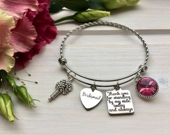 Bridesmaid Thank You gift, Thank You for being my Bridesmaid, Wedding Bracelet gift-for-Bridesmaid, Bridesmaid Bangle Bracelet Blush Pink