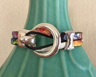 Leather bracelet | Leather and silver bracelet | Womens leather bracelet | Leather wrap bracelet |Unique jewelry | Women jewelry