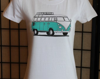 VW Bus T Shirt. VW Bus Shirt for Women. Fitted T Shirt For Ladies. VW Camper Bus Shirt. Screen Printed Shirt.