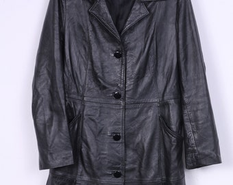 Vintage Womens XL Coat Soft Leather Black Single Breasted