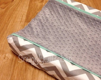 Grey chevron, mint changing pad cover and grey minky dot