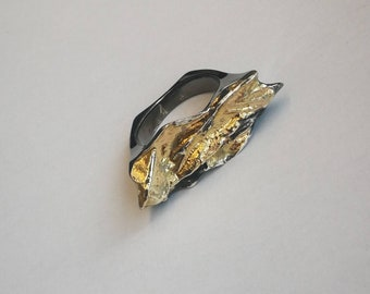 Rock ring sterling and gold black oxidized by AnOtherRing to order