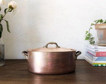 Antique Copper Casserole Dish / vintage Copper oven dish / rustic Copper / Vintage Copper / Collectable Copper / Distressed Copper Decor