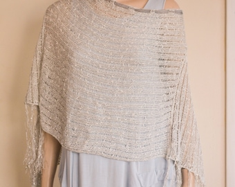 Cotton viscose silver metallic holidays poncho wedding opera evening fringes fringed