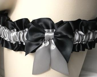 Black , Silver , Grey , Gray , Satin , Garter , Lingerie , Prom , Wedding , Bride , Burlesque , Hen , Bachelorette , UK