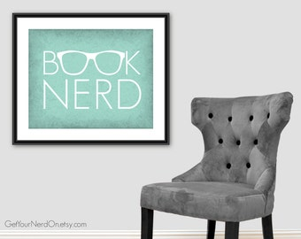 Book Nerd Poster, Nerd Glasses Print, Book Lover Wall Art, Gift for Librarian