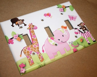 Triple Pink Jungle Girls Bedroom Triple Light Switch Cover