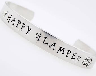 Happy Glamper, Glamping, Luxury Camping, Camper, Handstamed Adjustable bracelet, Custom Jewelry, gift for outdoor enthusiast, stamped metal