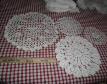 Sale on 4 Assorted Handmade Vintage Cotton Doilies