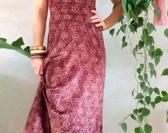 Vintage 70s Backless Dress/ Crushed Velvet Bodycon Dress/ 70s Boho Bodycon Dress/ Disco Dress/ Low Back Dress