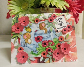 Friendship Card, Friendship, flowers, Mice, thinking of you, college student, girl, women