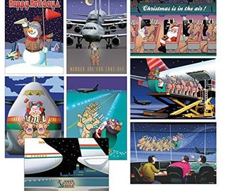 Airplane Christmas Card Variety Pack 24 Cards & Envelopes - 83