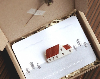 little house brooch 'red roof house' / house brooch, pin brooch, house pin, red house pin, scandinavian wooden house