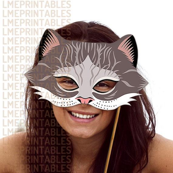 cheshire cat mask grey tabby printable gray animal masks