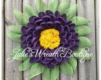 Dahlia Wreath, Burlap Wreath, Handmade Wreath, Front Door Wreaths, Summer Wreath, Custom Wreath, Handmade Gift, Mother's Day Gift