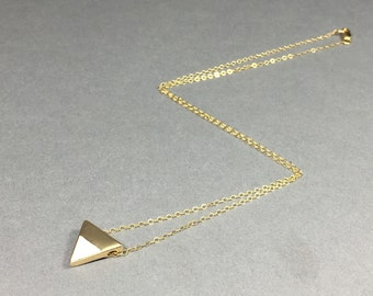White and Gold Triangle Enamel Necklace