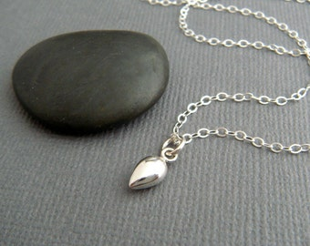 """tiny sterling silver teardrop necklace small puff puffed cone charm simple small tear pendant petite dainty delicate everyday gift 3/8"""""""