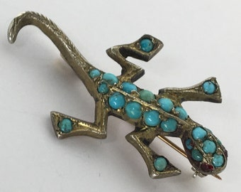 Vintage Turquoise and Gold Gecko Brooch Lizard Reptile Salamander
