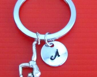 Gymnast Keychain, Gymnast Key Ring, Gym Team Gift, Exercise Keychain, Initial Keychain, Initial Keychain Free Shippin In USA