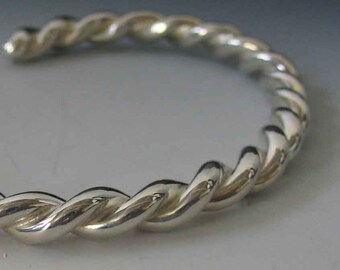 Heavy Man's Rope Cuff Bracelet Handmade in Sterling Silver, Custom Order, Plain Minimalist *FREE SHIPPING*