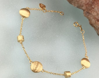 Yellow Gold bracelet 14 carats, gift for woman, exclusive bracelet, jewel, birthday gift, nameday gift, bracelet with cycles