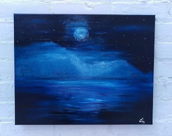 Once In A Blue Moon, Abstract Art, Original Painting, Wall Art, Moon Fantasy, Night Ocean