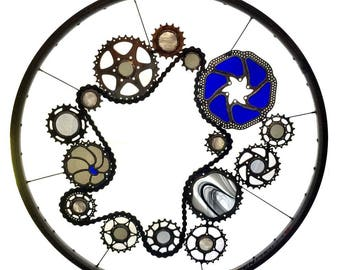 Stained glass bicycle wheel called The Portal - recycled bicycle art
