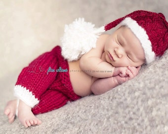newborn santa hat, baby santa hat, baby santa pants, santa outfit, baby's first christmas, photography props, santa photo props, baby boy