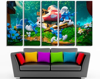 The Smurfs Smurfs canvas Smurfs photo Smurfs poster Smurfs wall art Smurfs decor Nursery wall art Nursery decor Nursery print Nursery art